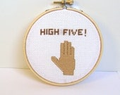 Ready to ship. High Five. Sign. Embroidery hoop art.  Funny embroidered sign.  FIber art home decor. high five sign. dorm room decor.