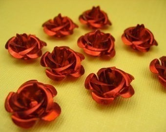 6 Large Red Rose flower beads 15mm