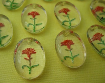 6 Vintage Lucite Pendant with Red Flower