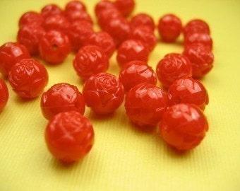 10 Lucite Carved Red Rosebud Beads
