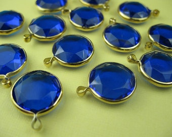 6 Vintage Lucite Blue Round Channel Charm Beads