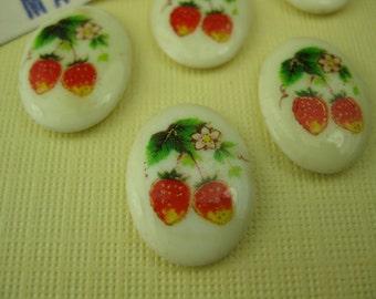 6 Vintage Porcelain Japanese Strawberry Cabochons