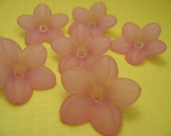 6 Vintage Large Pink Lucite beads