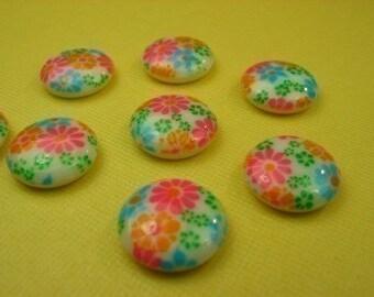 6 Vintage Flower patterned Glass Cabochons