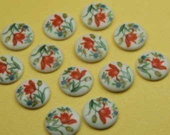 6 Vintage Japanese Glass with Tulip Flower Cabochon