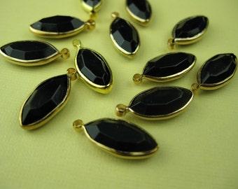 6 Vintage Lucite Black Drop Channel Charm Beads