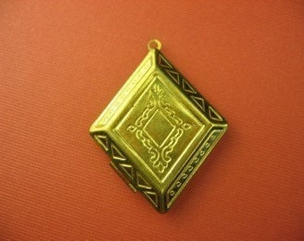 3 Vintage Brass Locket Pendant with Punched Decoration