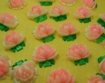 6 Vintage Pink Lucite Cabochon Roses