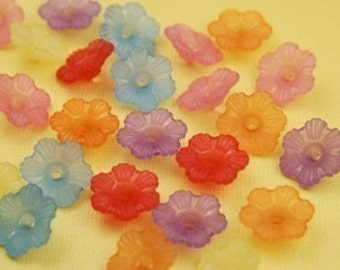 15 Piece Vintage Lucite Bell Flower Bead Mix