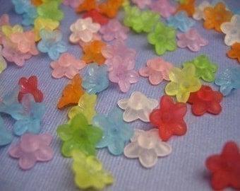 15 Piece Vintage Lucite Bell Flower Bead Mix