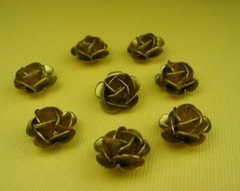 6 Large Vintage Brass Rose Beads