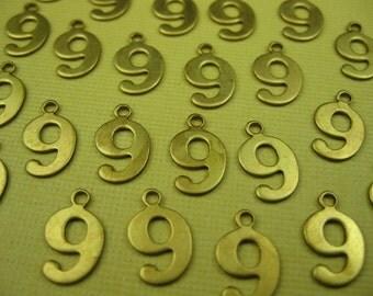 Vintage Brass Number 9 Charm Pendant