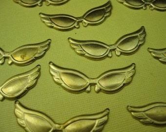 8 Vintage Retro Sunglasses Brass Charm Pendant