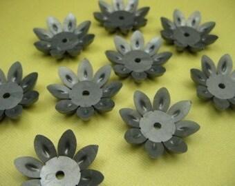 6 Grey Lucite Mod Flower Beads