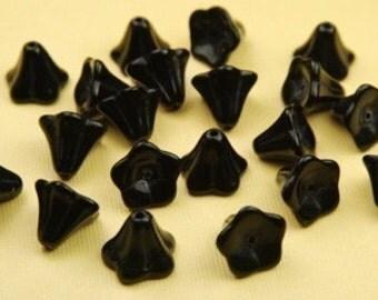 6 Vintage Black Flower Glass Beads