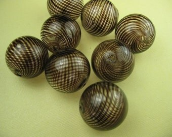 12 Dark Brown Stripe Hand Blown Glass Beads