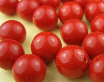 8 Large Vintage Red Lucite Beads