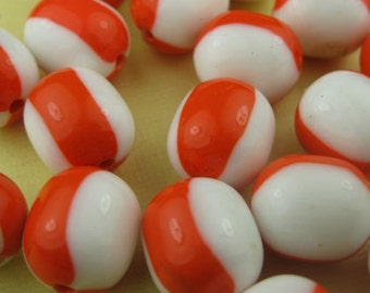 8 Vintage Orange and White Lucite Beads