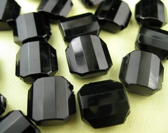 10 Vintage Large Black faceted Lucite  Beads