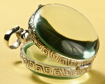 Glass Locket Round Bubble Hinge Picture Sterling Silver Pendant
