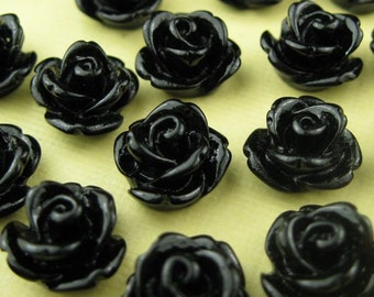 6 Black Lucite Cabochon Roses