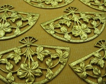 6 Vintage Brass Fan Charms