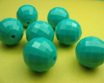 6 Large Turqouise 18mm Vintage Lucite Beads