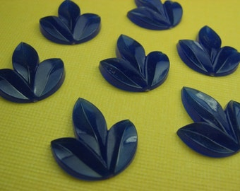 8 Vintage Blue Lucite Three Leaf Cabochons