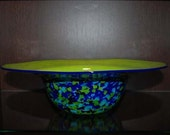 Hand Blown Green and Blue Glass Bowl