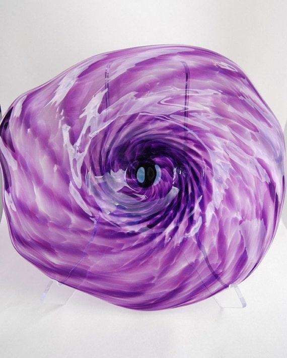 Hand Blown Purple Glass Wall Plate