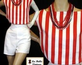 Vintage 50s 60s Red White Cotton Pinup High Waist Shorts Top Set S M Nos