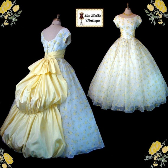 Vintage 50s 60s White & Yellow Floral Chiffon Taffeta Wedding Prom Party Dress Bustle Ball Gown M