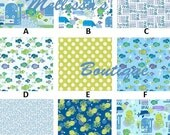 Custom DEEP DEEP SEA fabrics by Studio E Boutique 3-Piece Crib Bedding Set Blue Green Fish