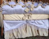 NEW Custom Silk Luxury Scalloped Baby Nursery Posh with Ruffles 4-Piece Crib Bedding Set YOUR CHOICE of Colors