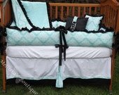 Custom Tiffany Blue with Black and White Boutique Crib Bedding Set with Ruffles