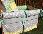 Custom Grey with Teal and Yellow Accent 4-Piece Complete Boutique Crib Nursery Bedding Set GENDER NEUTRAL