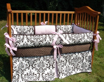 Custom Damask with Accent YOUR CHOICE To Customize Boutique Crib Nursery Bedding Set