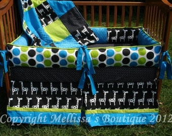 Custom Black White Chartreuse and Turquoise Boutique Crib Bedding Complete 4-Piece Set YOUR CHOICE
