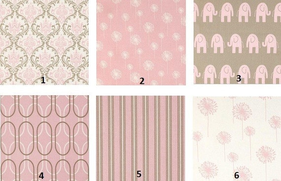 Custom Pink Taupe White Damask Modern 2-Piece Boutique Crib Bedding Set Your Choice to CUSTOMIZE