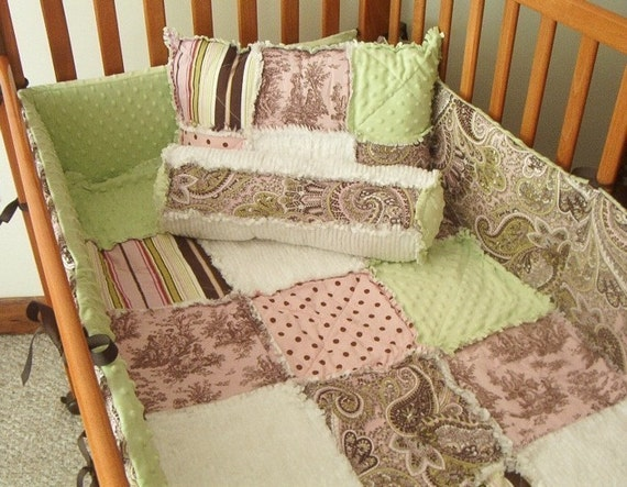 Pink Brown Green Toile And Paisley Custom Baby 4-Piece Crib
