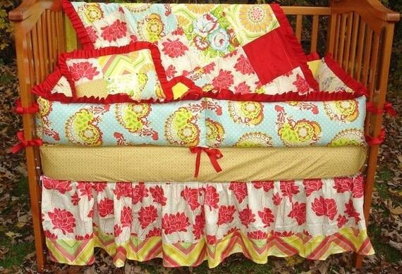 Custom for Jolynrobbins Baby Nursery Crib Bedding Set made with Heather Bailey POP GARDEN