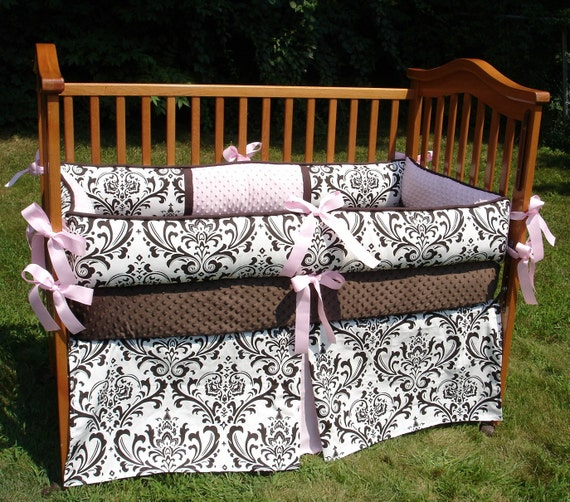 Custom for LORISALOIS Damask with Pink Accent Boutique Crib Nursery Bedding Set