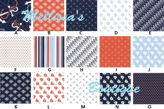 Custom for nicolef63 Boutique Anchors Away Nautical Baby Nursery Crib Bedding Set made with fabric by Dear Stella