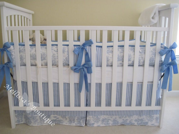 Custom for Baby Boy or Girl Toile Boutique Crib Bedding Complete 2-Piece Set YOUR CHOICE of Color