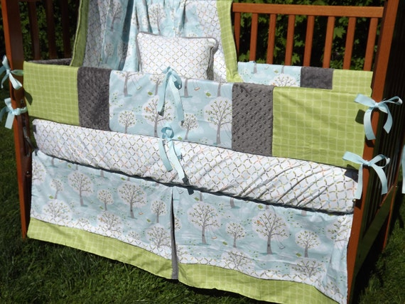 Custom Backyard Baby Blue, Green Orange and Grey 3-Piece Boutique Crib Bedding Set CHOOSE & CUSTOMIZE