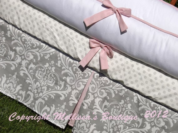 Custom White Pique&Grey Damask with Accent YOUR CHOICE 3-Piece Boutique Crib Bedding Set