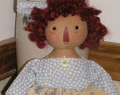 Primitive Raggedy Ann - Handmade Annie w/Strawberry