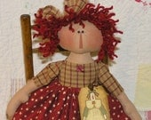 Primitive Raggedy Annie Folk Art Stars Little Rag Doll Ann NEPG