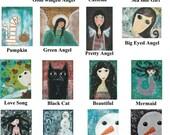 U Pick 12 Postcards Angel Cat Girl Mermaid Pumpkin Fall Autumn Thanksgiving Christmas Snowman Birthday Cards