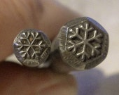 2 design stamps - includes the 3/8 inch (9.5mm) SNOWFLAKE and 1/4 inch (6mm) SNOWFLAKE -  includes How to Stamp Metal tutorial